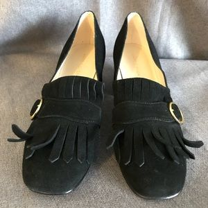 Marc Fisher Shoes - Marc Fisher chunky heel loafers black suede fringe